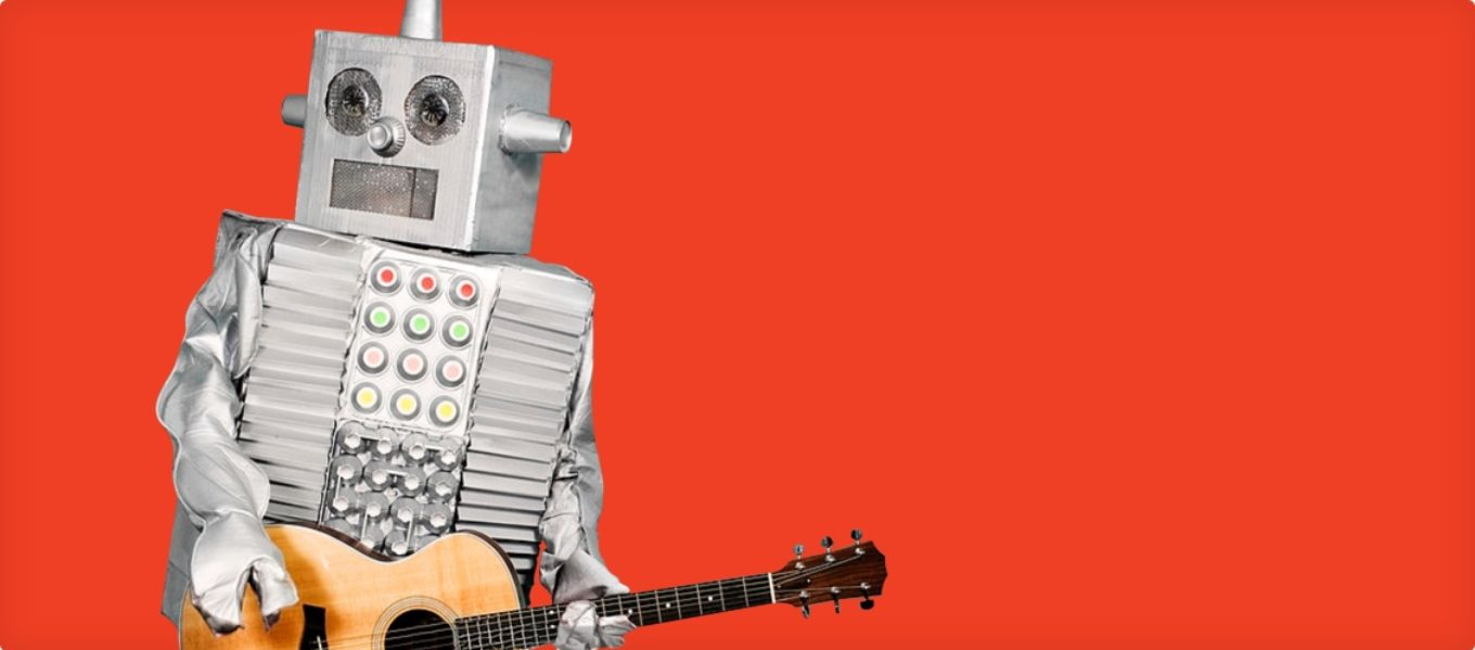 Kintone no-code/low-code application development platform - robot playing guitar - no code platform, no code app builder, no code solution