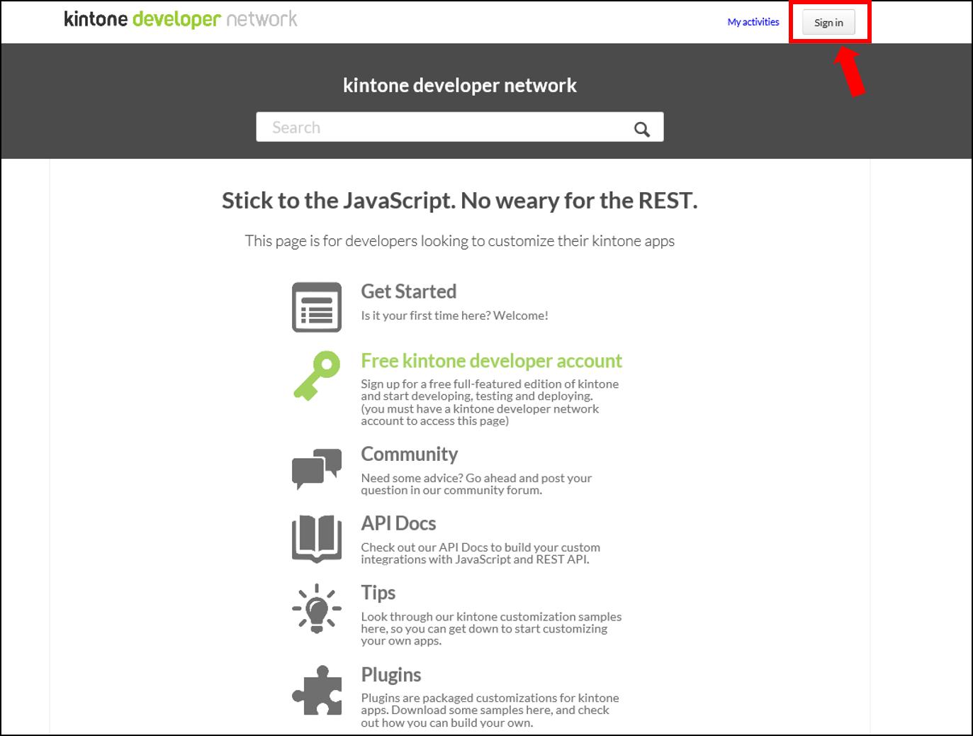 developer license, kintone development