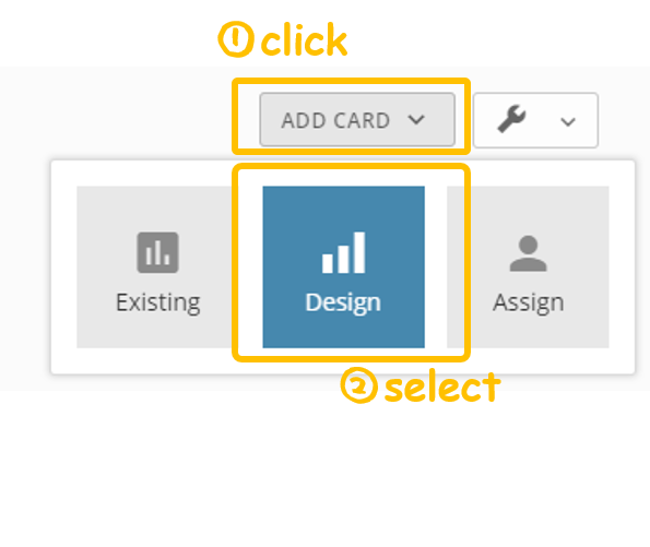 Screenshot showing how to add a new card design - Kintone add-on: Domo Connectors