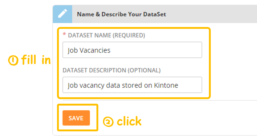 Screenshot of naming the Dataset of the Domo connector - Kintone add-on: Domo App