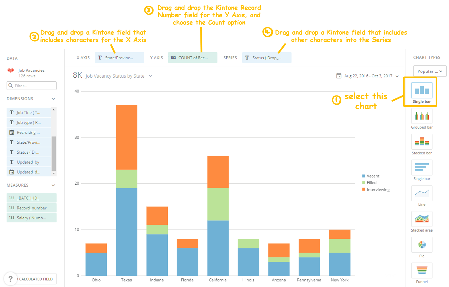 Screenshot of an example Domo Bar Chart - Kintone add-on: Domo App