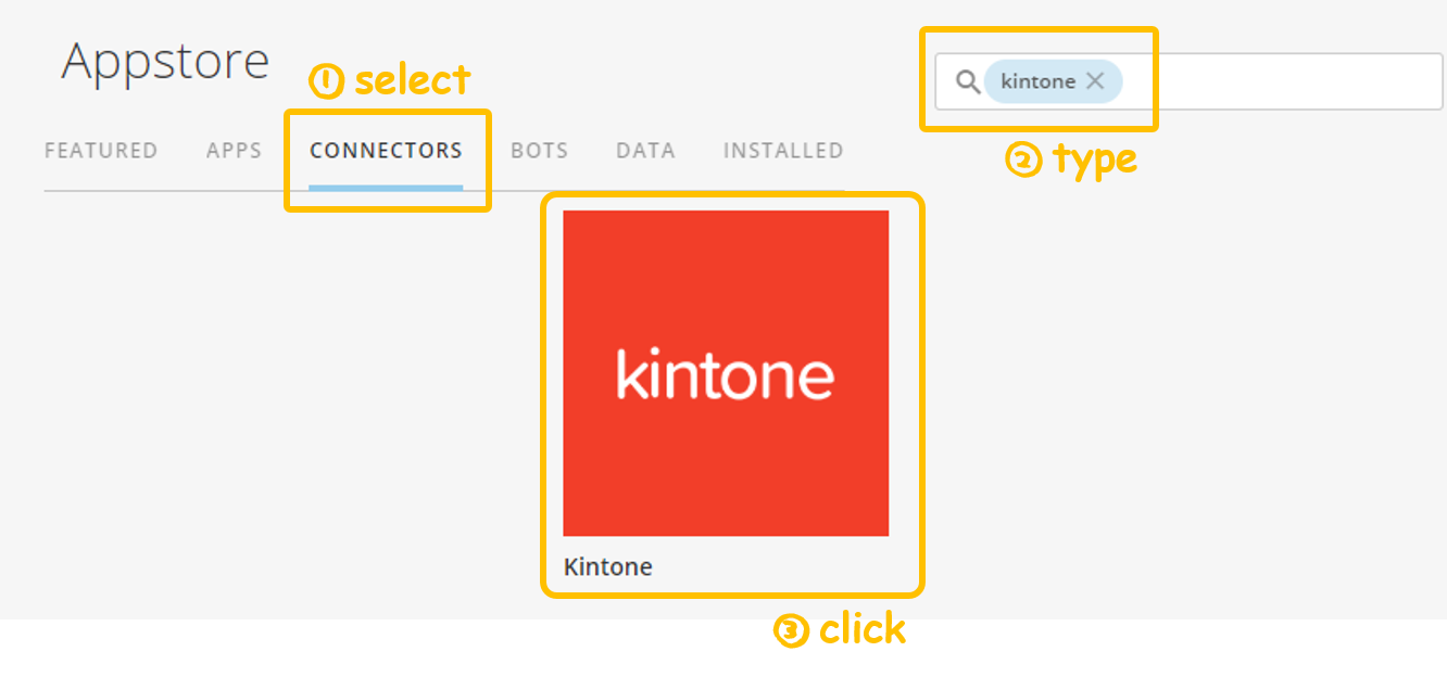 Screenshot showing how to search for the Kintone connector in Domo's Appstore - Kintone add-on: Domo App, Domo connnectors