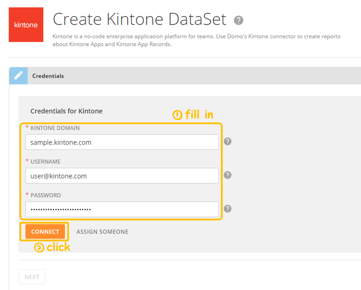 Screenshot showing credential page filled in -Kintone add-on: Domo App