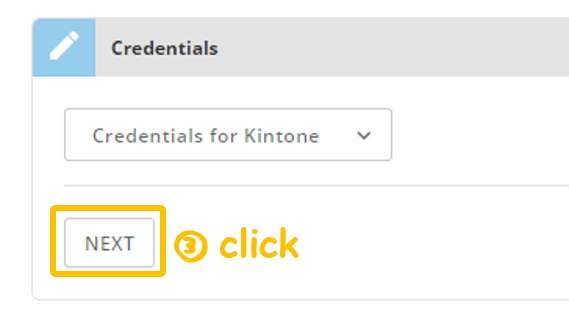 Screenshot guiding the user to click NEXT after the authentication succeeds - Kintone add-on: Domo App