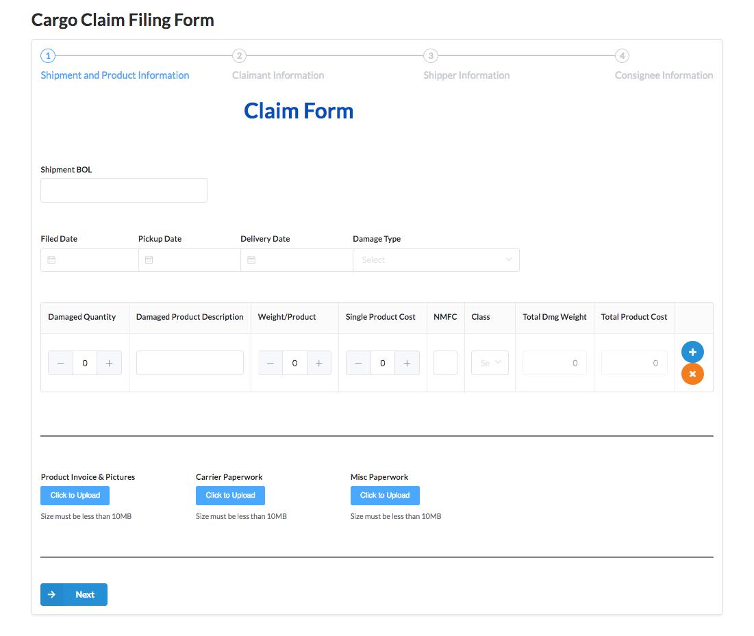 Cargo Claim Filing Form